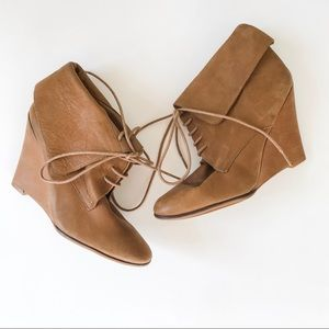 Zara Lace-Up Brown Leather Ankle Booties Size 40